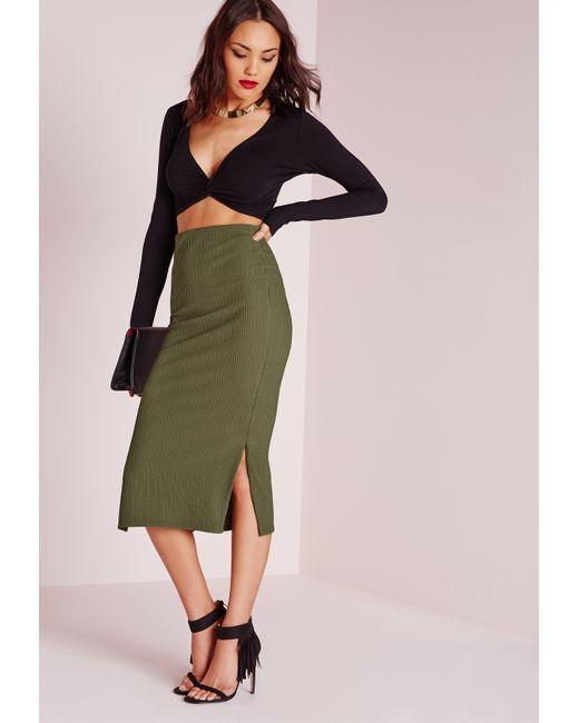 missguided textured side split longline midi skirt khaki
