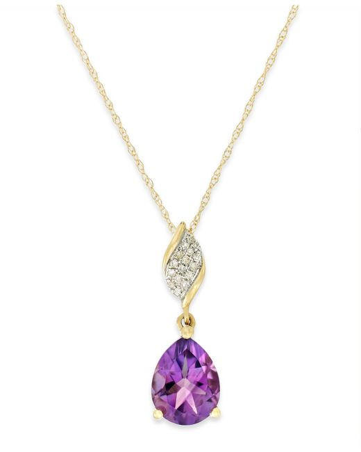 Macy's | Metallic Amethyst (1-1/2 Ct. T.w.) And Diamond Accent Pendant Necklace In 10k Gold | Lyst
