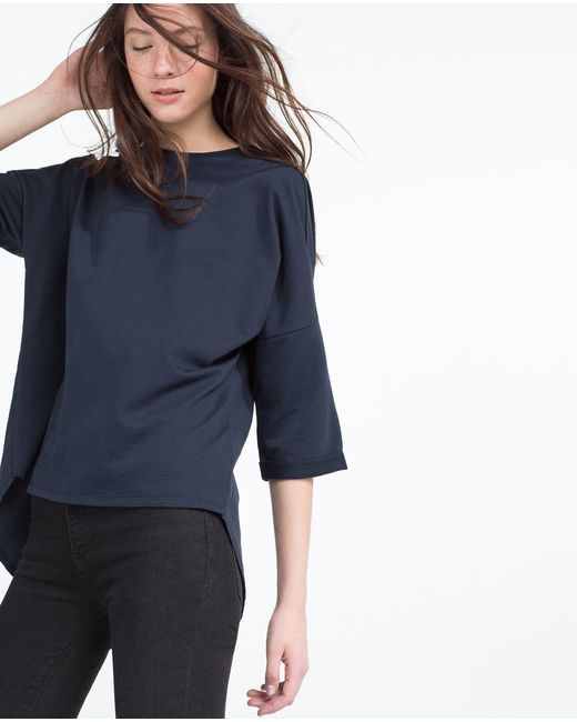 Zara french sleeve t shirt in blue navy blue lyst for French blue t shirt