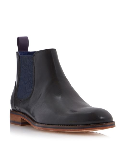 Ted Baker | Blue Camroon Paisley Panel Chelsea Boots for Men | Lyst