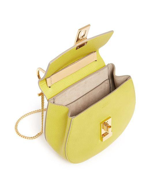 knock off chloe handbags - Chlo�� Drew Mini Color-Blocked Leather Shoulder Bag in Yellow | Lyst