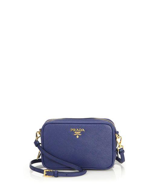 Prada | Blue Saffiano Leather Camera Bag | Lyst
