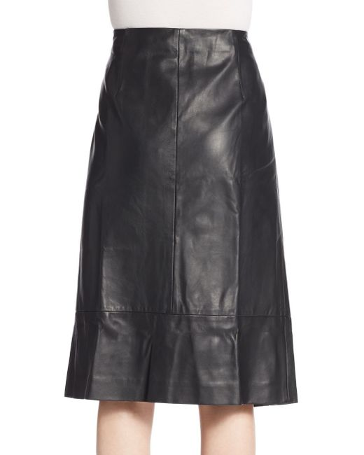 mm6 by maison martin margiela leather slit front skirt in