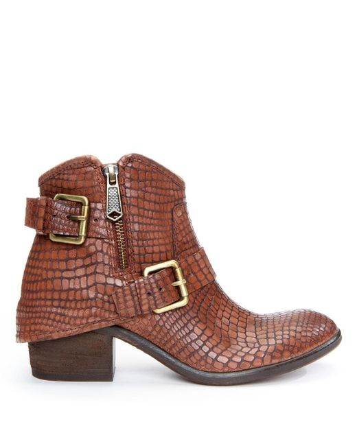 Donald J Pliner | Brown Dalis Buckle Ankle Embossed Leather Boot | Lyst