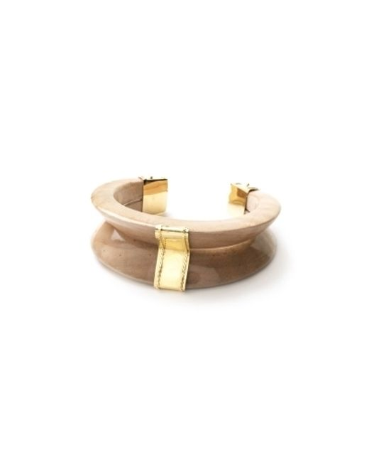 Kara Ross | Brown Gold And Maple Wood V Cuff | Lyst