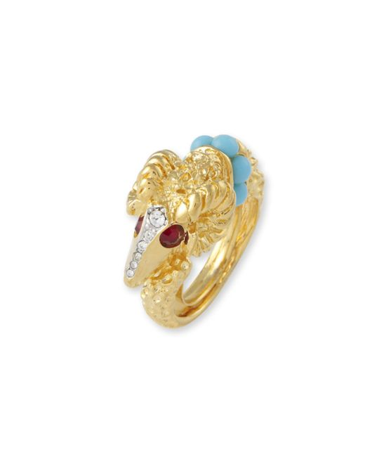 Kenneth Jay Lane | Blue Turquoise Rams Head Ring | Lyst