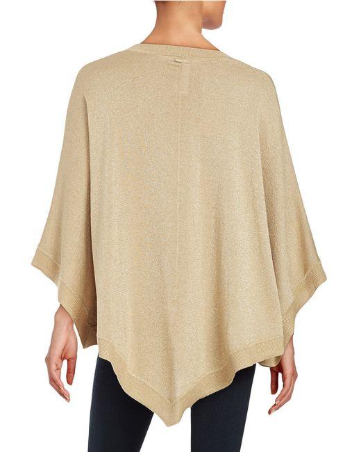michael michael kors petite metallic knit poncho in beige dark camel save 70 lyst. Black Bedroom Furniture Sets. Home Design Ideas