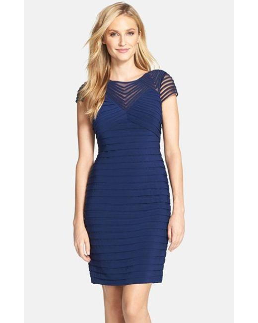Adrianna Papell | Blue Corded Yoke Pleat Jersey Sheath Dress | Lyst