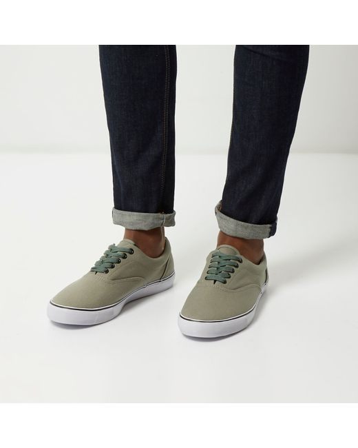 river island green canvas plimsolls in green for lyst