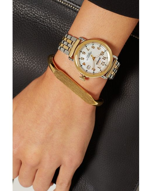 Shinola Runwell Gold Plated And Stainless Steel Watch In