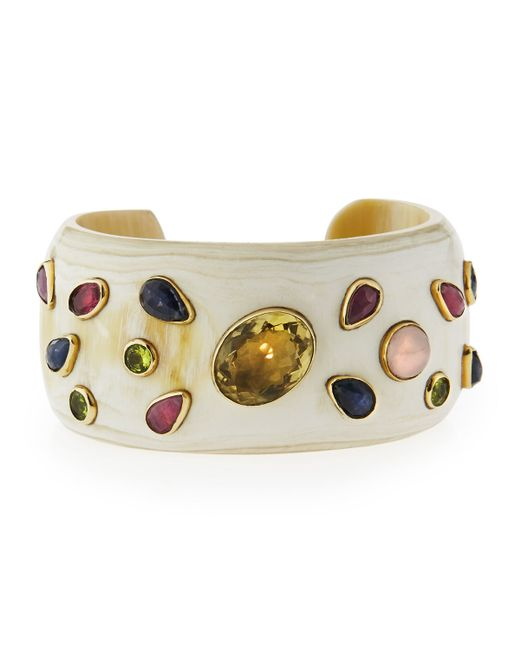 Ashley Pittman | White Ungana Mixed Stone Cuff Bracelet | Lyst