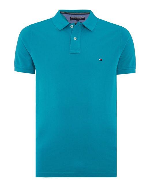 tommy hilfiger slim fit polo top in blue for men bright. Black Bedroom Furniture Sets. Home Design Ideas