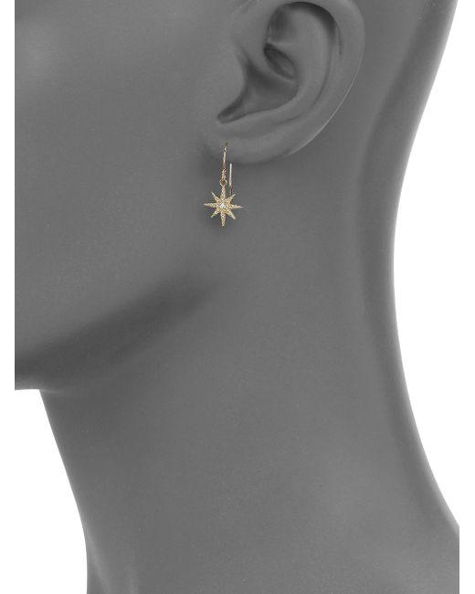 Mizuki | Metallic Icicles Diamond & 14k Yellow Gold Star Drop Earrings | Lyst