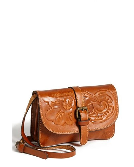 Patricia Nash | Brown 'torri' Embossed Leather Crossbody Bag | Lyst