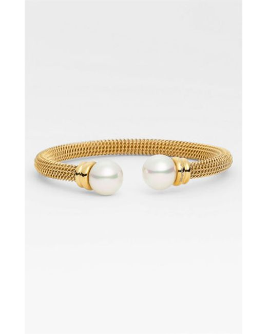 Majorica | Metallic Pearl-cap Bangle | Lyst