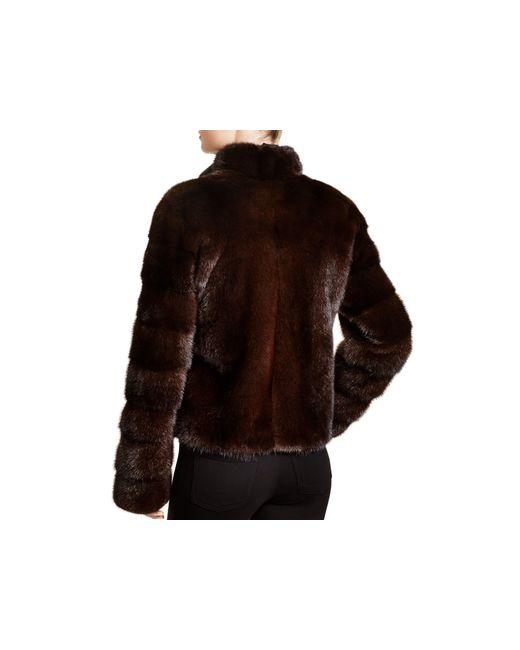 Maximilian   Brown Maximilian Stand Collar Mink Coat   Lyst