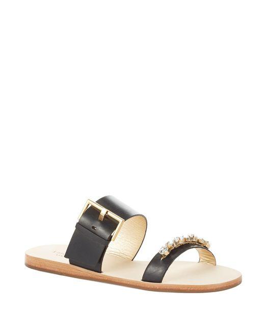 Kate Spade | Black Astra Crystal Embellished Leather Sandals | Lyst