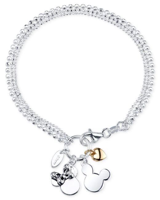 Mickey Mouse Charm Bracelet: Disney Two-tone Mickey And Minnie Mouse Charm Bracelet In