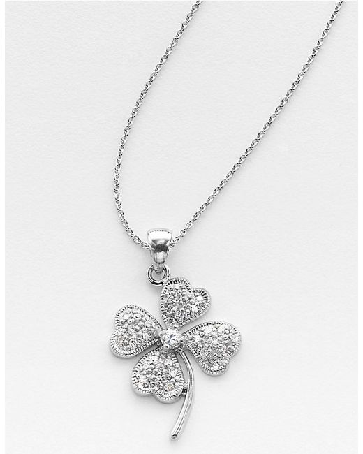 Lord & Taylor | Metallic Sterling Silver Cubic Zirconia Pavé Clover Pendant Necklace | Lyst