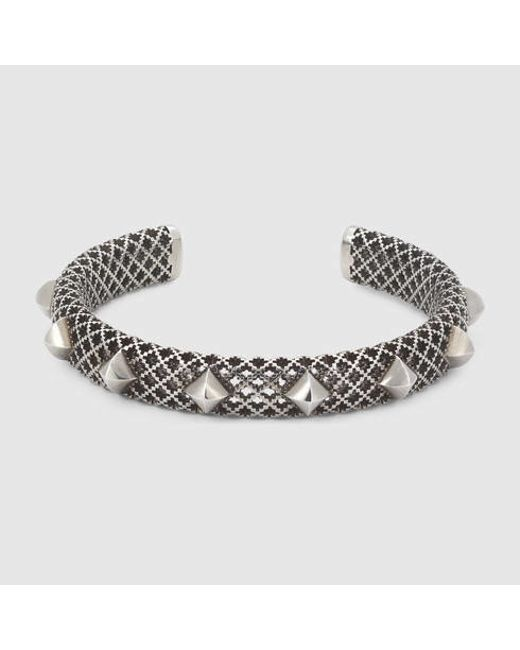 Gucci | Metallic Cuff Bracelet In Silver With Studs | Lyst