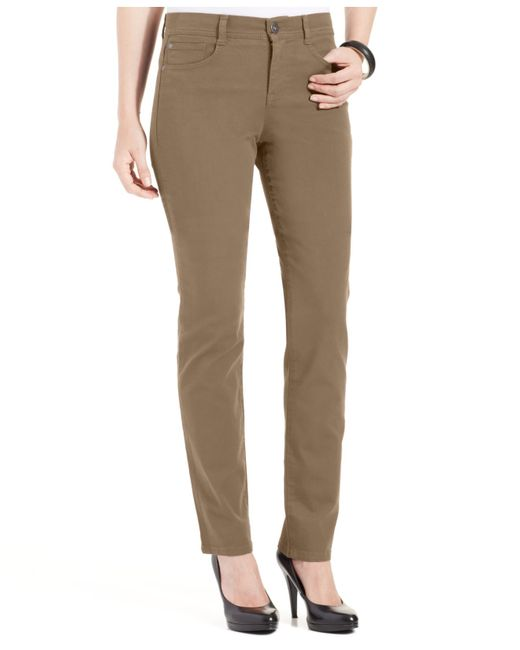 Style & Co. | Brown Petite Slim-leg Tummy-control Jeans, Only At Macy's | Lyst