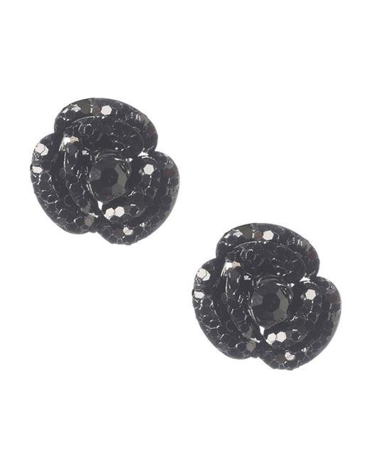 Betsey Johnson | Black Flower Stud Earrings | Lyst