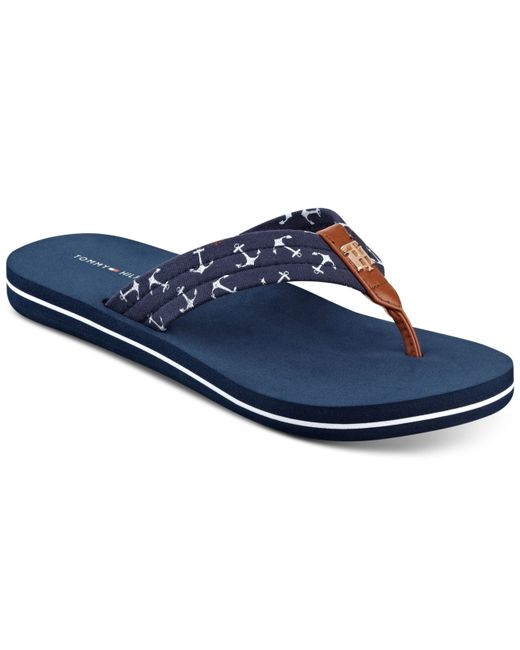 tommy hilfiger women 39 s cafe anchors flip flop sandals in blue navy. Black Bedroom Furniture Sets. Home Design Ideas