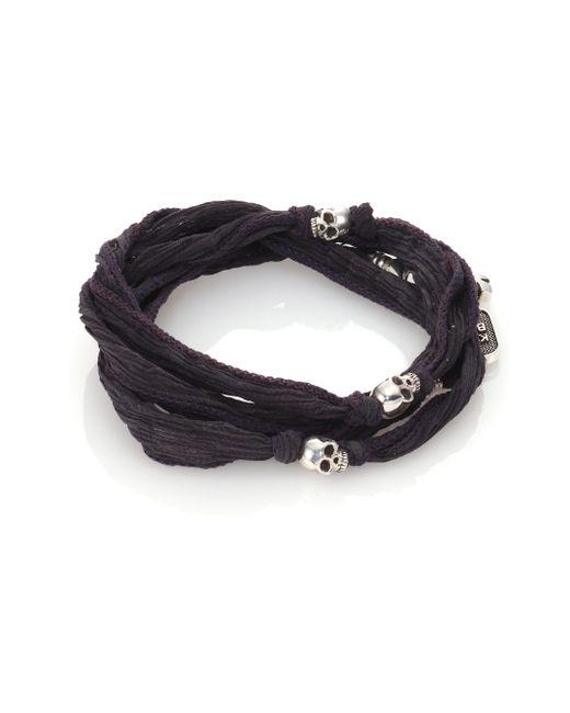 King Baby Studio | Gray Sterling Silver & Silk Skull Wrap Bracelet for Men | Lyst
