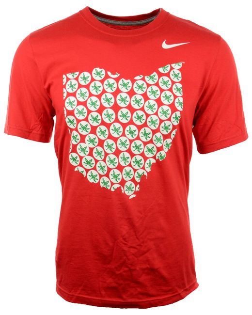 Nike men 39 s short sleeve ohio state buckeyes t shirt in red for Ohio state shirts mens