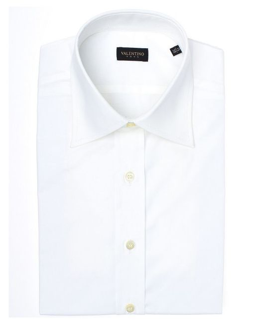 Valentino roma spread collar stretch cotton dress shirt in for Wide spread collar shirt