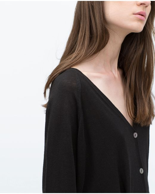 Zara | Black Knit Cardigan With Pockets | Lyst