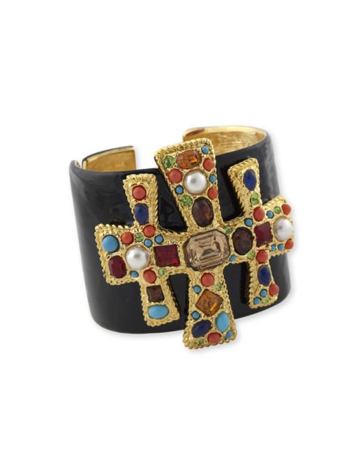 Kenneth Jay Lane | Metallic Black Enamel Multi Color Cross Cuff | Lyst
