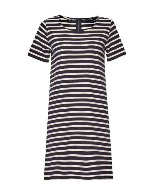 French Connection Annie Striped T Shirt Dress In Blue