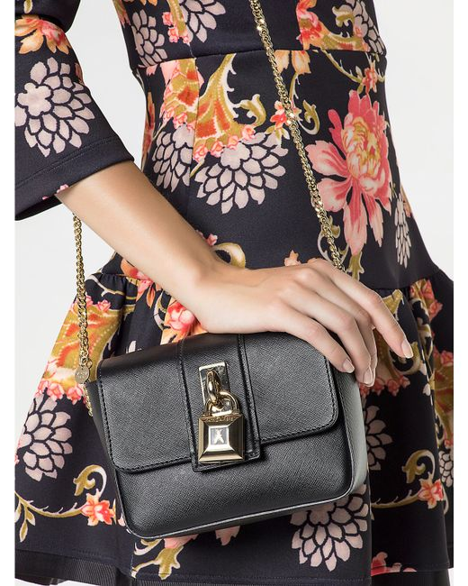 Patrizia Pepe | Black Mini Clutch Bag In Leather With Shoulder Strap | Lyst