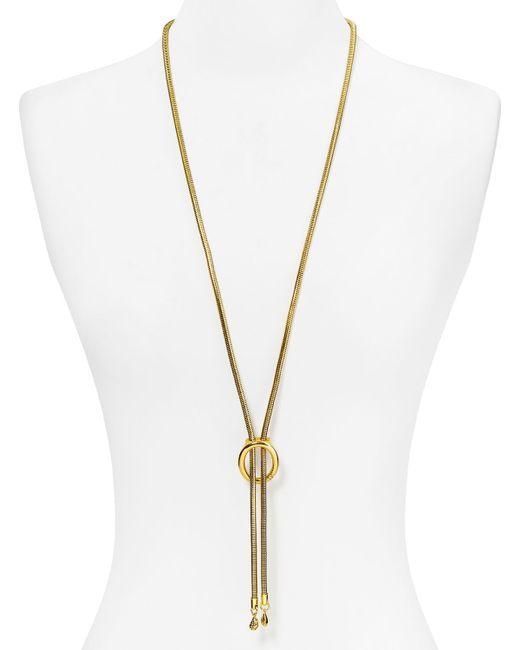 Diane von Furstenberg | Metallic Holiday Pave Oval Lariat Necklace | Lyst