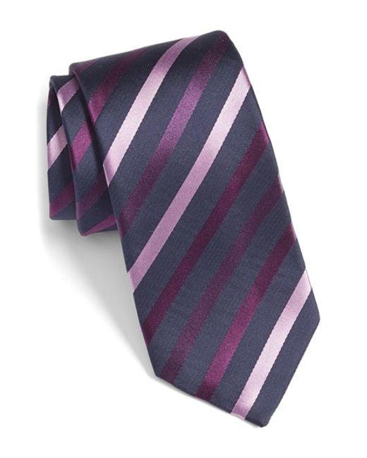 bugatchi stripe silk tie in purple for plum lyst