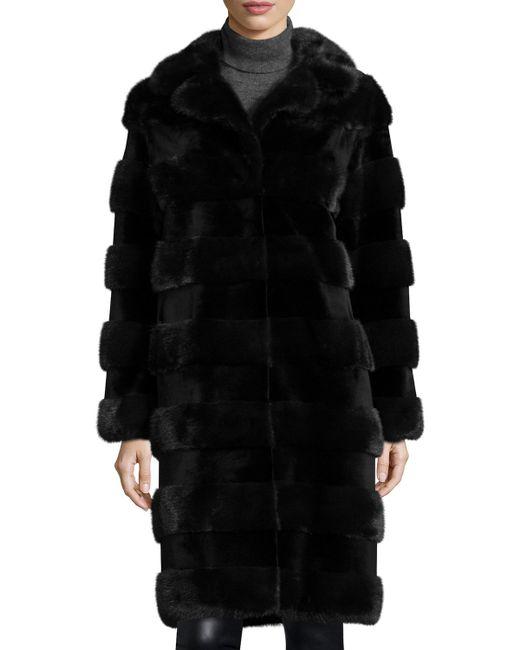 Oscar de la Renta | Blue Horizontal Stripe Mink Fur Stroller Coat | Lyst
