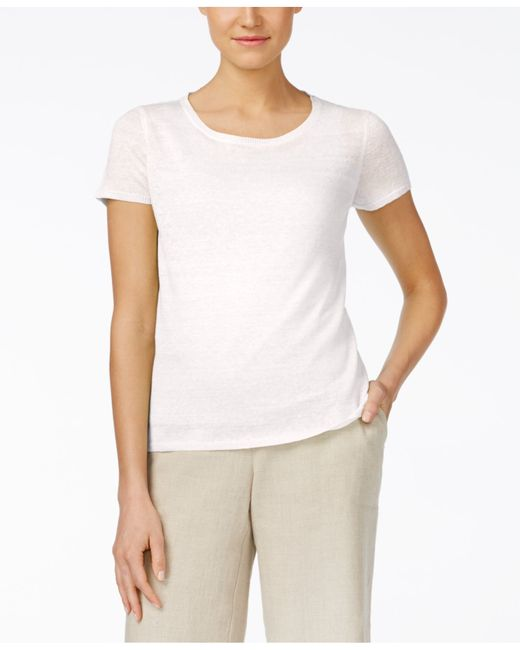 eileen fisher linen t shirt in white lyst