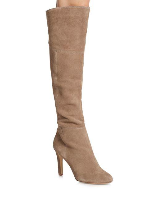 dolce vita kavan suede knee high boots in brown almond