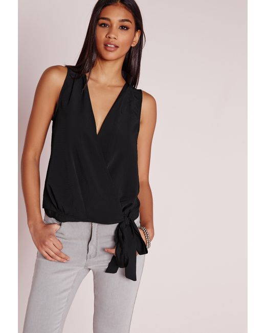 Sleeveless Wrap Blouse With Tie - Tie Blouse