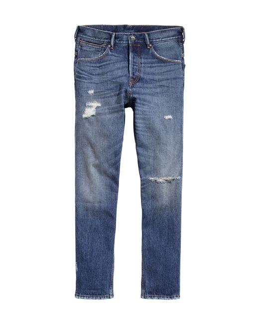 h m tapered low trashed jeans in blue for men lyst. Black Bedroom Furniture Sets. Home Design Ideas