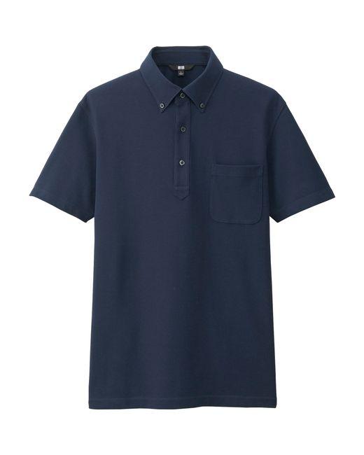 Uniqlo Men 39 S Dry Button Down Collar Polo Shirt In Blue For