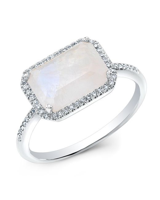 Anne Sisteron | Metallic 14kt White Gold Moonstone Diamond Chic Ring | Lyst