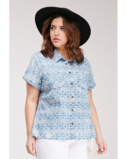 Forever 21 plus size print chambray shirt in blue blue for Plus size chambray shirt
