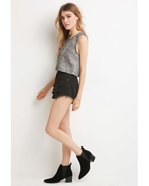 Forever 21   Gray Mineral Wash Crop Top   Lyst
