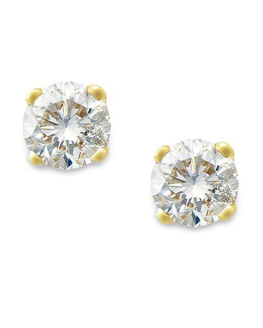 Macy S Round Cut Diamond Stud Earrings In 10k Yellow Or White Gold 1 10 Ct T W In Metallic