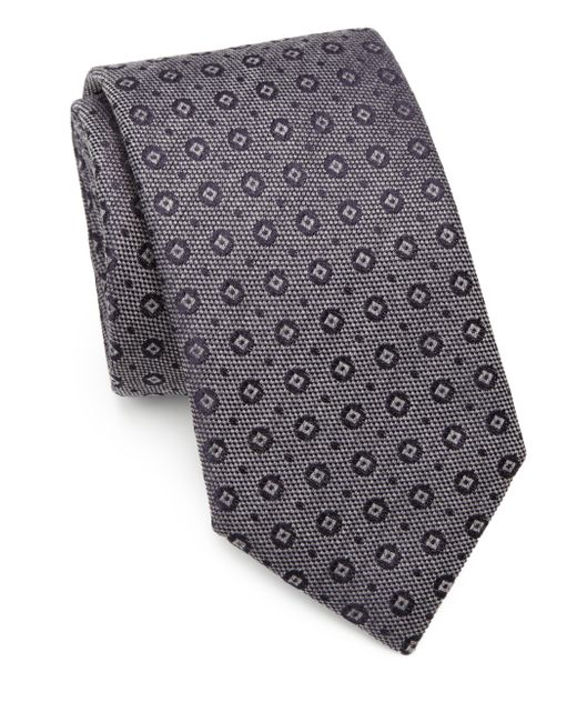 Saks Fifth Avenue | Gray Circle & Square Silk/cotton Tie for Men | Lyst