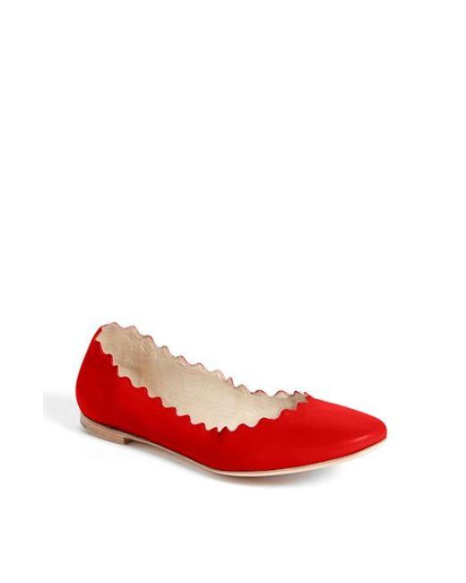 Chloé | Red 'lauren' Scalloped Ballet Flat | Lyst
