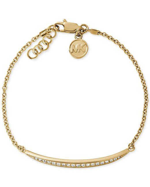 Michael Kors | Metallic Crystal Pave Disc Pendant Necklace | Lyst