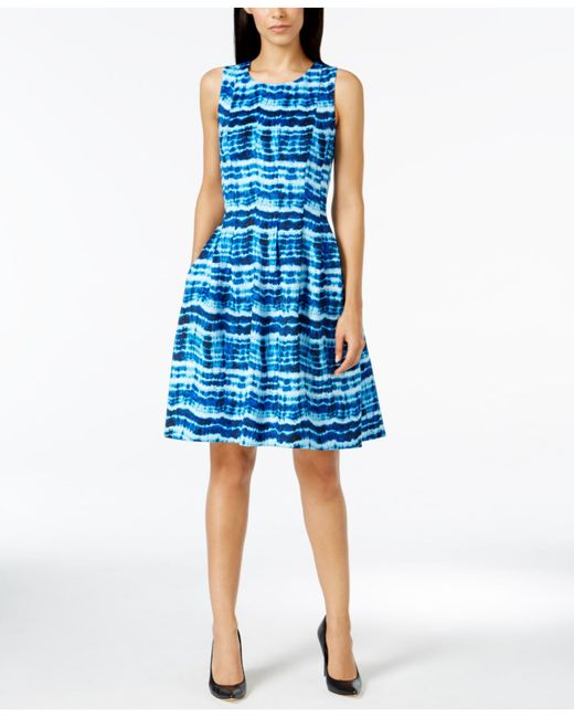 Calvin Klein Petite Printed Scuba A-line Dress In Blue | Lyst